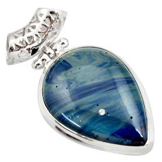 Clearance Sale- 24.00cts natural blue swedish slag 925 sterling silver pendant jewelry d42057