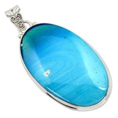 40.28cts natural blue swedish slag 925 sterling silver pendant jewelry d45460