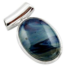 14.72cts natural blue swedish slag 925 sterling silver pendant jewelry r27681