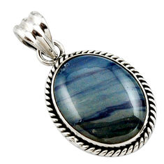 17.22cts natural blue swedish slag 925 sterling silver pendant jewelry r27683