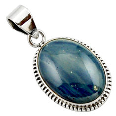 13.70cts natural blue swedish slag 925 sterling silver pendant jewelry r27686