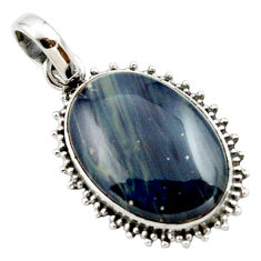 15.65cts natural blue swedish slag 925 sterling silver pendant jewelry r27688