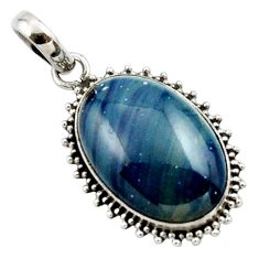16.20cts natural blue swedish slag 925 sterling silver pendant jewelry r27689