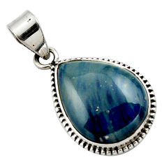 14.72cts natural blue swedish slag 925 sterling silver pendant jewelry r27691