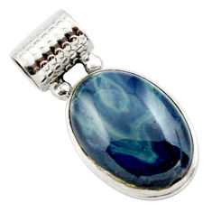 14.72cts natural blue swedish slag 925 sterling silver pendant jewelry r27692