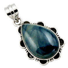 15.65cts natural blue swedish slag 925 sterling silver pendant jewelry r27693