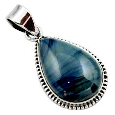 16.20cts natural blue swedish slag 925 sterling silver pendant jewelry r27695