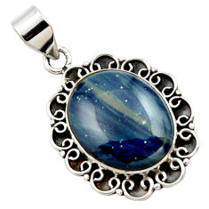 16.18cts natural blue swedish slag 925 sterling silver pendant jewelry r27696