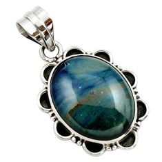 16.73cts natural blue swedish slag 925 sterling silver pendant jewelry r27698
