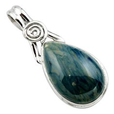 16.20cts natural blue swedish slag 925 sterling silver pendant jewelry r27699