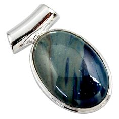 15.08cts natural blue swedish slag 925 sterling silver pendant jewelry r27716