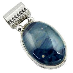 19.23cts natural blue swedish slag 925 sterling silver pendant jewelry r41701