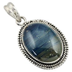 16.17cts natural blue swedish slag 925 sterling silver pendant jewelry r41702