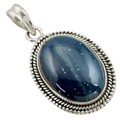 17.95cts natural blue swedish slag 925 sterling silver pendant jewelry r41703
