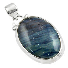 12.15cts natural blue swedish slag 925 sterling silver pendant jewelry r46281