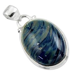 14.07cts natural blue swedish slag 925 sterling silver pendant jewelry r46282