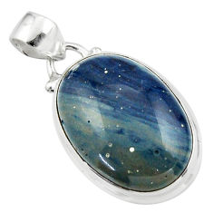 13.67cts natural blue swedish slag 925 sterling silver pendant jewelry r46283