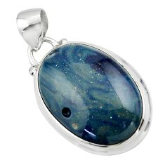 13.53cts natural blue swedish slag 925 sterling silver pendant jewelry r46285