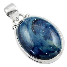 13.60cts natural blue swedish slag 925 sterling silver pendant jewelry r46286