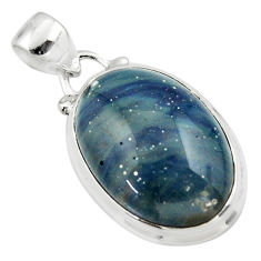 13.30cts natural blue swedish slag 925 sterling silver pendant jewelry r46288