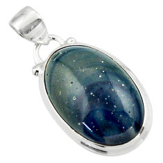 12.68cts natural blue swedish slag 925 sterling silver pendant jewelry r46289