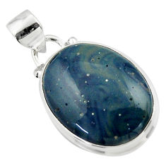 11.65cts natural blue swedish slag 925 sterling silver pendant jewelry r46290
