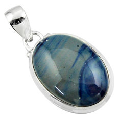 14.05cts natural blue swedish slag 925 sterling silver pendant jewelry r46292