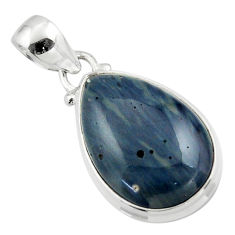 12.58cts natural blue swedish slag 925 sterling silver pendant jewelry r46293