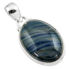14.23cts natural blue swedish slag 925 sterling silver pendant jewelry r46294
