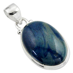 13.05cts natural blue swedish slag 925 sterling silver pendant jewelry r46295