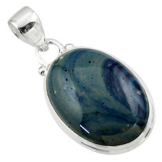 11.38cts natural blue swedish slag 925 sterling silver pendant jewelry r46296