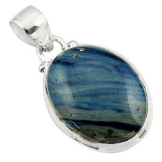 13.60cts natural blue swedish slag 925 sterling silver pendant jewelry r46297