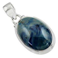 12.98cts natural blue swedish slag 925 sterling silver pendant jewelry r46298