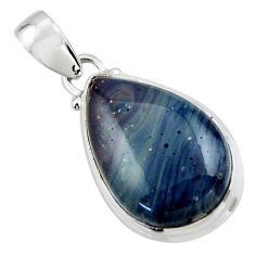 13.03cts natural blue swedish slag 925 sterling silver pendant jewelry r46299