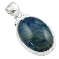 12.93cts natural blue swedish slag 925 sterling silver pendant jewelry r46300