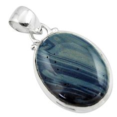 12.55cts natural blue swedish slag 925 sterling silver pendant jewelry r46397
