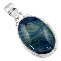 12.15cts natural blue swedish slag 925 sterling silver pendant jewelry r46398