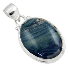 12.60cts natural blue swedish slag 925 sterling silver pendant jewelry r46399