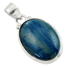 13.10cts natural blue swedish slag 925 sterling silver pendant jewelry r46400
