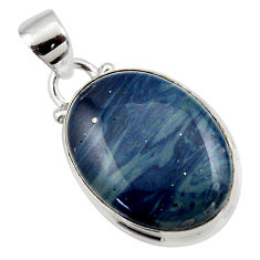 12.72cts natural blue swedish slag 925 sterling silver pendant jewelry r46607