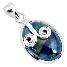 13.15cts natural blue swedish slag 925 sterling silver pendant jewelry r94531