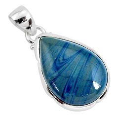 10.65cts natural blue swedish slag 925 sterling silver pendant jewelry r94532