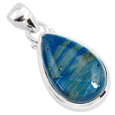11.57cts natural blue swedish slag 925 sterling silver pendant jewelry r94534