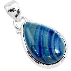 11.57cts natural blue swedish slag 925 sterling silver pendant jewelry r94535