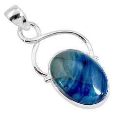13.15cts natural blue swedish slag 925 sterling silver pendant jewelry r94538