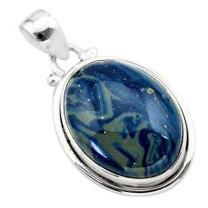 15.08cts natural blue swedish slag 925 sterling silver pendant jewelry t38741