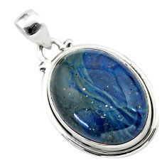 17.60cts natural blue swedish slag 925 sterling silver pendant jewelry t38742