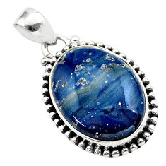 15.58cts natural blue swedish slag 925 sterling silver pendant jewelry t38745