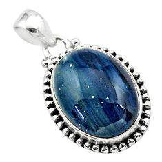 16.01cts natural blue swedish slag 925 sterling silver pendant jewelry t38747