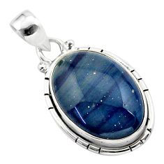 14.23cts natural blue swedish slag 925 sterling silver pendant jewelry t38748
